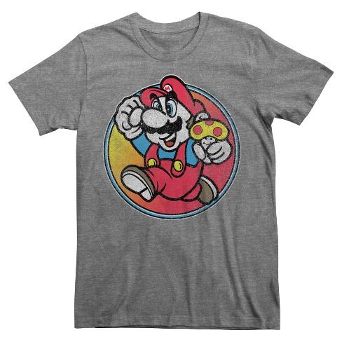20a298caa40 Men's Super Mario T-Shirt Charcoal Heather   Target