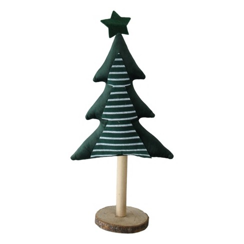 Christmas Base.Northlight 16 Green Fabric Christmas Tree With Wooden Base Tabletop Decoration