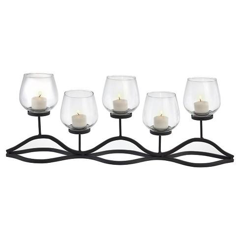 "22"" x 8"" Decorative Iron 5-Tealight Candle Holder Black - Danya B - image 1 of 3"