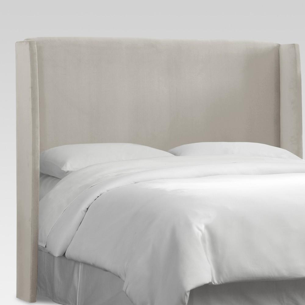 Queen Antwerp Upholstered Wingback Headboard Light Gray - Project 62, Velvet Light Gray