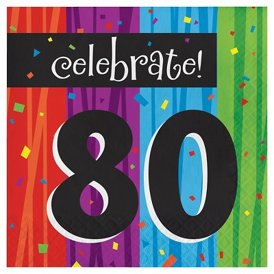 16ct Milestone Celebrations 80th Birthday Napkins
