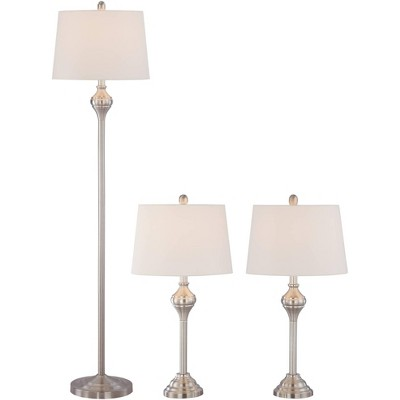 Barnes and Ivy Traditional Table Floor Lamps Set of 3 Brushed Steel White Tapered Drum Shade for Living Room Family Bedroom
