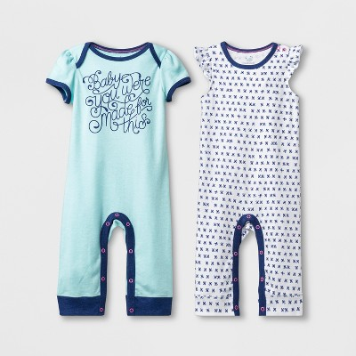 Baby Girls' 2pk Short Sleeve Coverall - Cloud Island™ Blue 6-9M