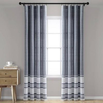 Set of 2 Nantucket Yarn Dyed Cotton Tassel Fringe Window Curtain Panels - Lush Décor