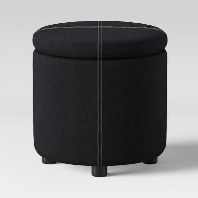 Round Ottoman Black - Room Essentials™