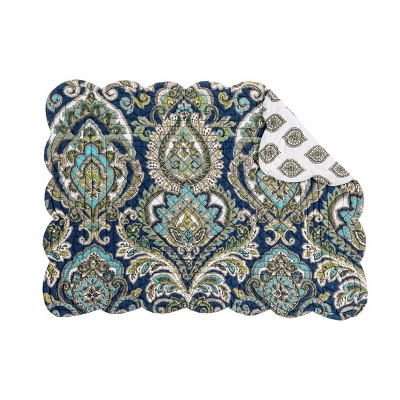 Gray NATURAL HOME Quilted Reversible Round C/&F Placemat Gold Dark Blue
