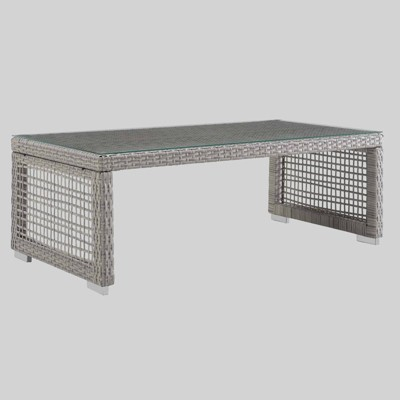 Aura Rattan Outdoor Coffee Table Gray - Modway