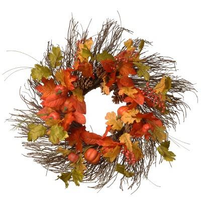 "26"" Halloween Maple Leaves Wreath"