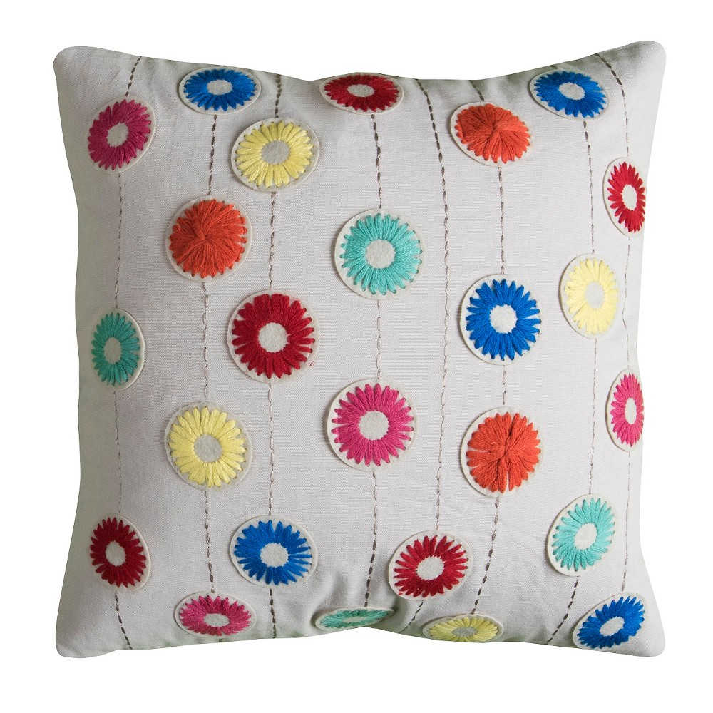 Image of Floral Throw Pillow - (18x18) - Rizzy Home, Multi-Colored