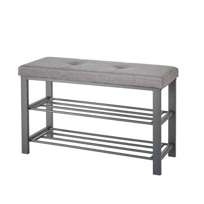 Neatfreak Upholstered Shoe Storage Bench Gray/Black