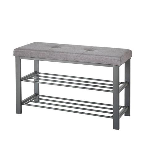Neatfreak Upholstered Shoe Storage Bench Gray/Black - image 1 of 4