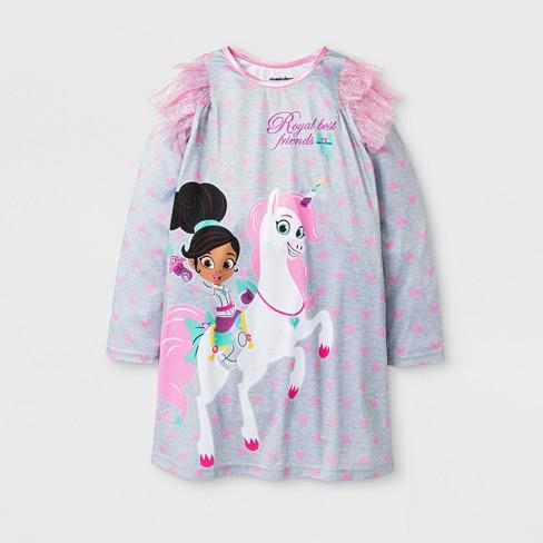 b8c044f57 Girls  Nella The Princess Knight Nightgown - Gray   Target