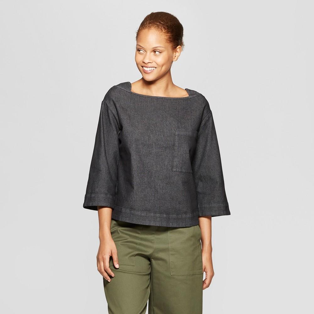 Women's Long Sleeve Square Neck Denim Blouse - Prologue Black M