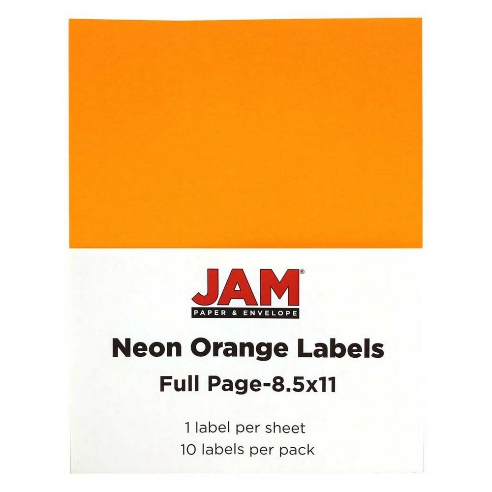 Jam Paper Shipping Labels 8.5 x 11 10ct - Neon Orange