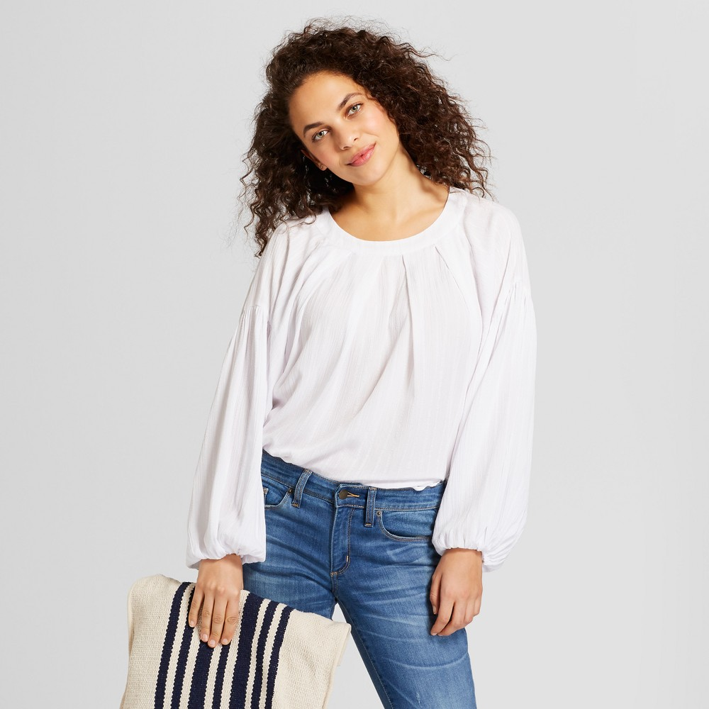 Women's Long Sleeve Pleated Top - Universal Thread White XS