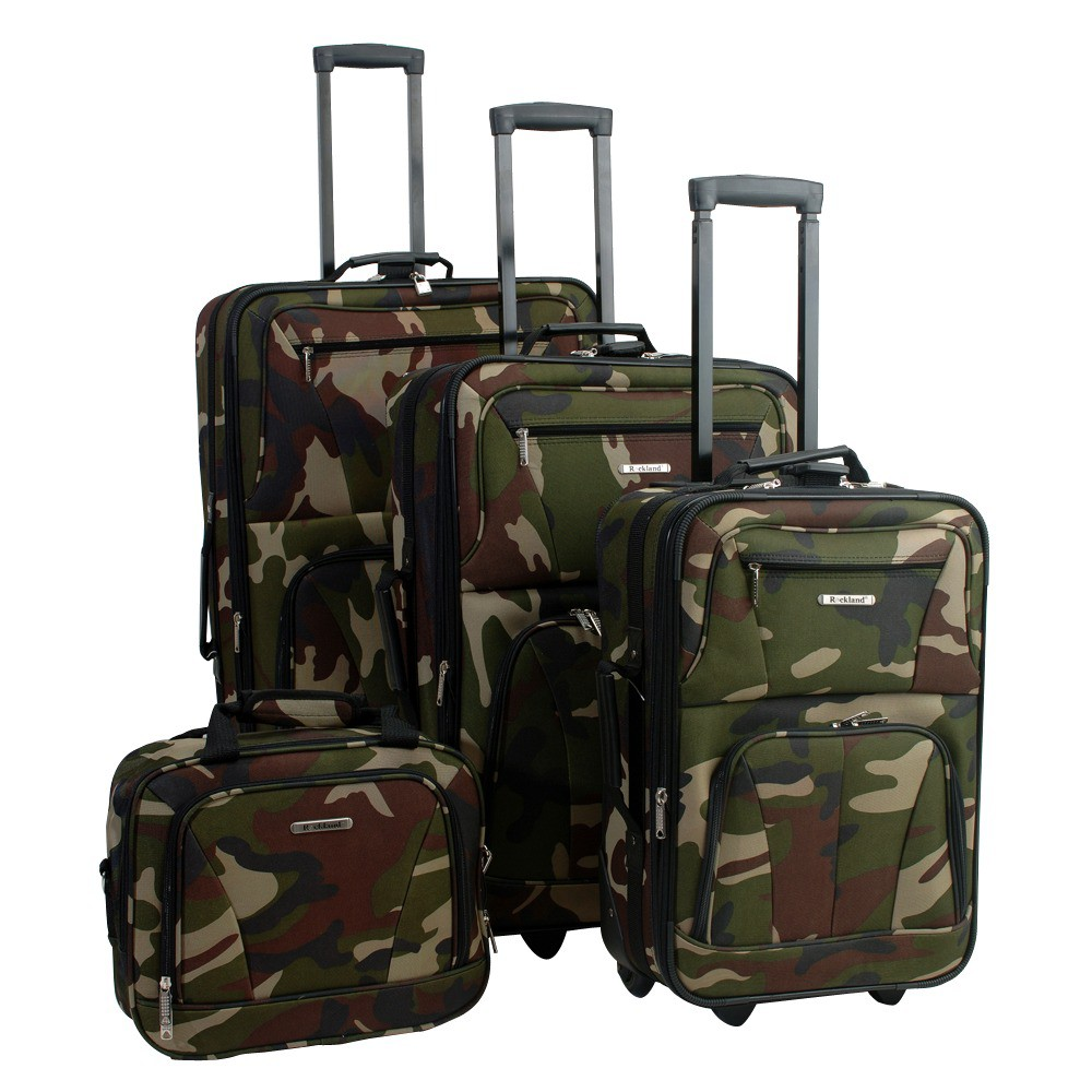 Image of Rockland Journey 4pc Expandable Luggage Set - Camo, Bootcamp Green