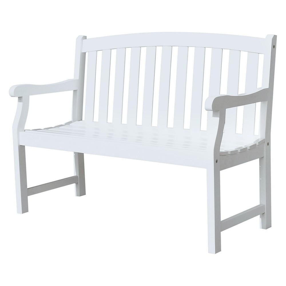 Vifah Bradley Eco-friendly 4' Outdoor White Wood Garden Bench