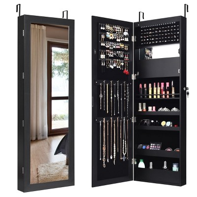 Costway Wall Door Mounted Mirror Jewelry Cabinet Organizer LED Lights