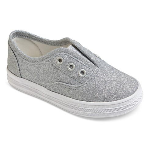 Toddler Girls' Peony Laceless Canvas Sneakers Cat & Jack™ - Silver - image 1 of 3