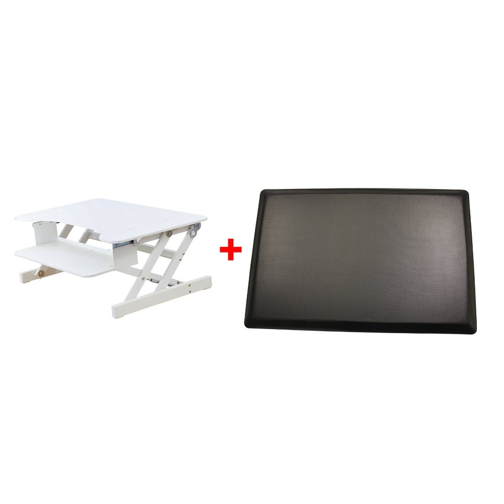 Image of Adjustable Desk Riser with Medium Energizing Mat White - Rocelco