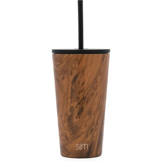 Simple Modern 16oz Stainless Steel Straw Tumbler Wood