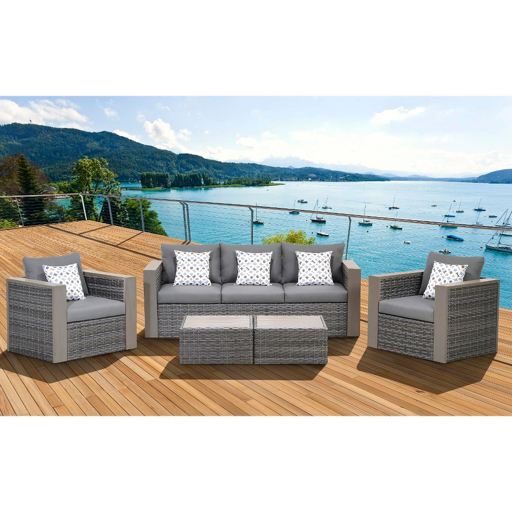 Image of Camaro 5-Piece Wicker/Faux Wood Patio Seating Set with Gray Cushions - Gray