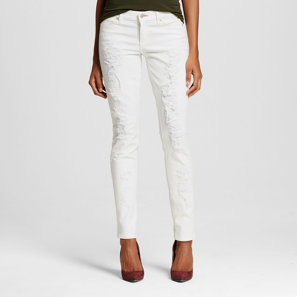 Women's Mid Rise Destructed Skinny Jeans White 29 - Dittos (Juniors')