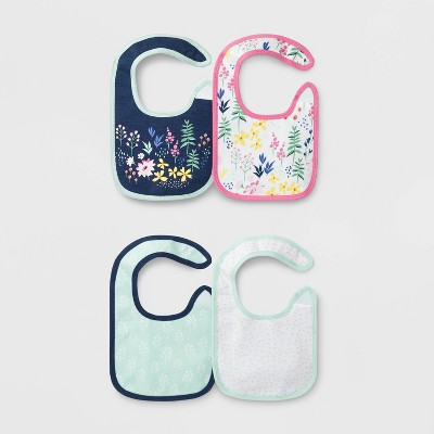 Baby Girls' 4pk Little Wildflower Bibs - Cloud Island™ One Size