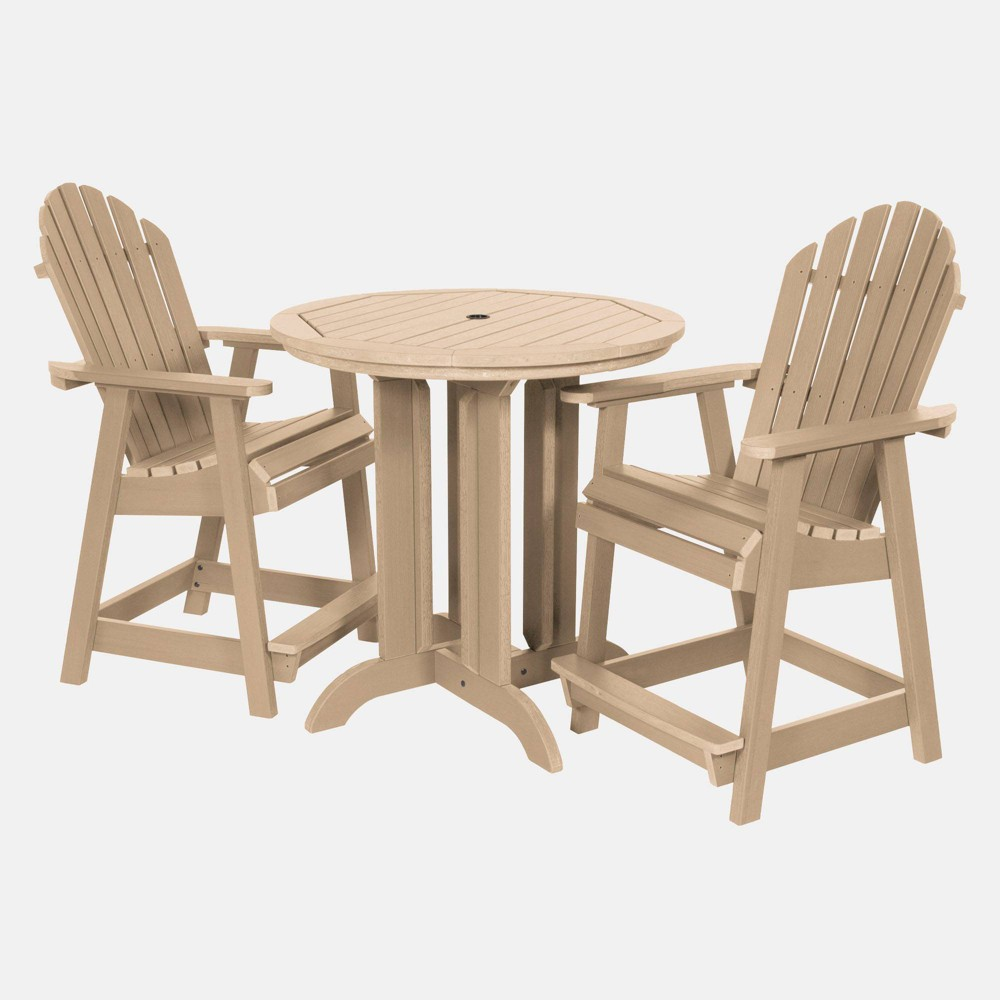 Image of 3pc Hamilton Round Counter Patio Dining Set Tuscan Taupe - highwood, Tuscan Brown