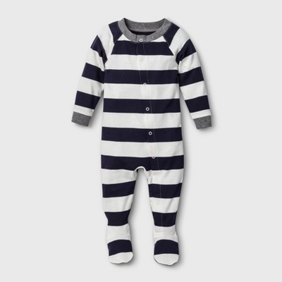 Baby Striped Footed Sleeper - Navy 3-6M