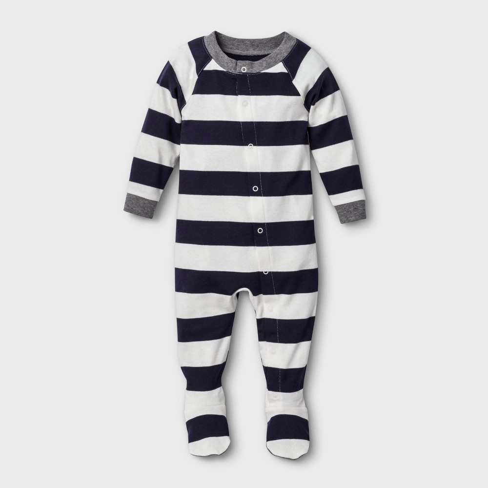 Image of Baby Striped Footed Sleeper - Navy 3-6M, Adult Unisex, Blue