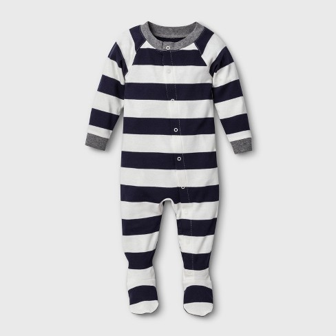 Baby Striped Footed Sleeper - Navy - image 1 of 3