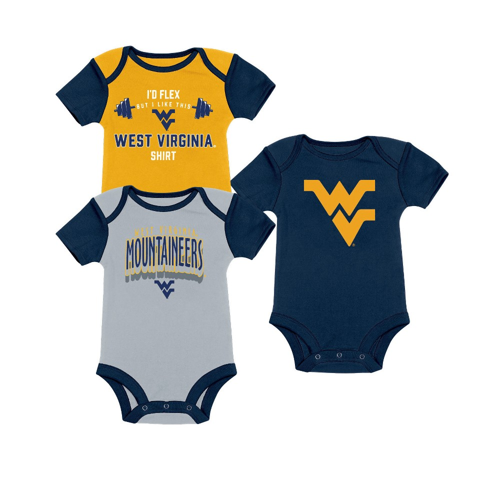 NCAA Baby Boys' 3pk Bodysuit West Virginia Mountaineers - 6-9M, Multicolored