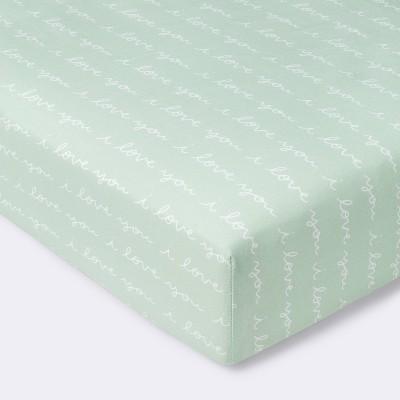 Fitted Crib Sheet I Love You Script - Cloud Island™ Mint