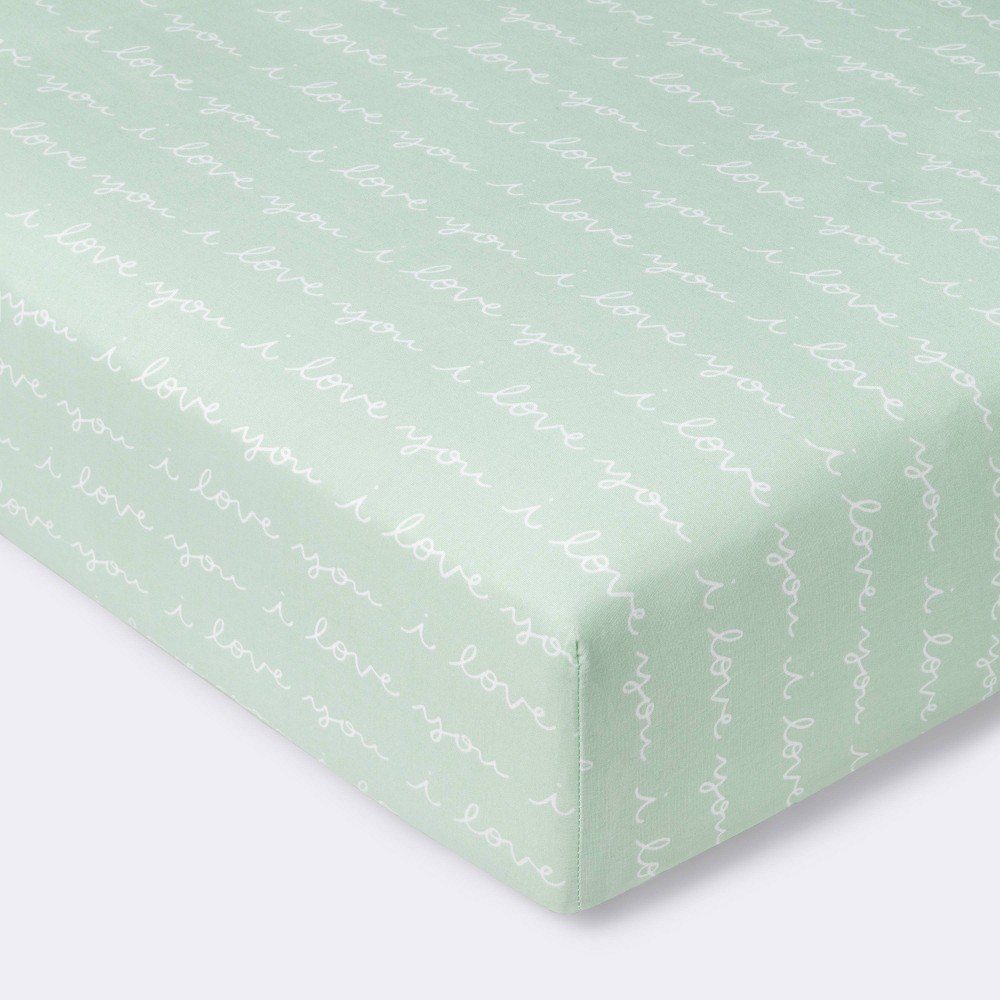 Fitted Crib Sheet I Love You Script Cloud Island 8482 Mint