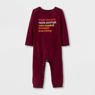 Baby Boys' Autumn Romper - Cat & Jack™ Burgundy 3-6M