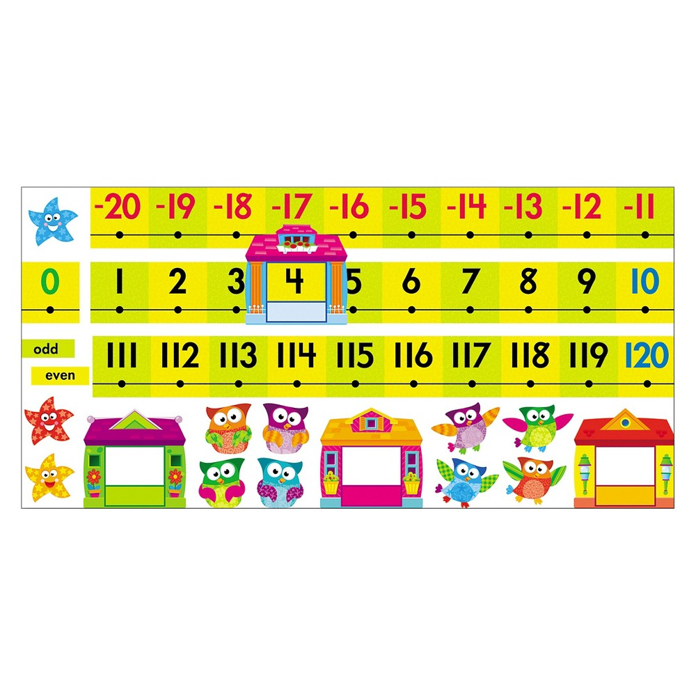 Trend Bulletin Board Set Number Line Owl-Stars 40ft 49pc, Multi-Colored