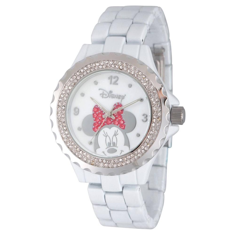 Women S Disney Minnie Mouse Enamel Sparkle White Alloy Watch White