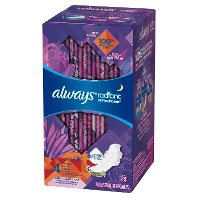 Always Radiant Size 4 Scented Overnight Sanitary Pads With Wings   28ct by 28ct