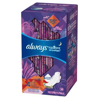 Always Radiant Overnight Sanitary Pads With Wings - Scented - Size 4 - 28ct