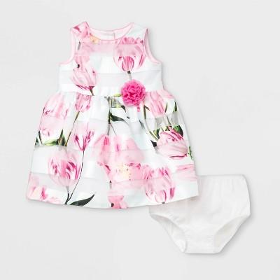 Mia & Mini Baby Girls' Shadow Stripe Window Pane Dress - 0-3M
