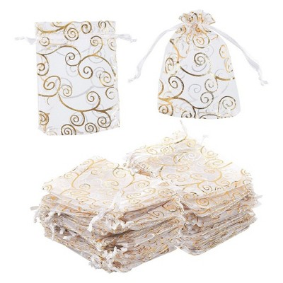 Juvale 120-Pack Gold Swirl Organza Wedding Small Gift Bags Party Favors Jewelry Pouches, 3.5 x 4.75 in