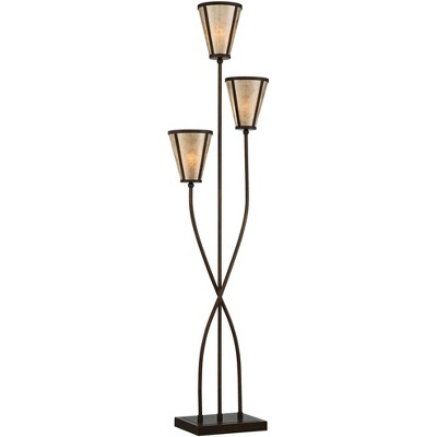 Franklin Iron Works Sonoma 3-Light Tree Floor Lamp with Mica Shades