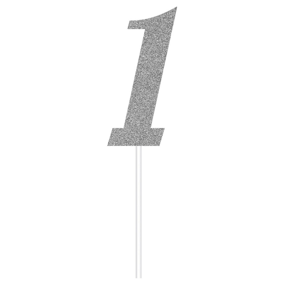 Silver Number One Cake Topper