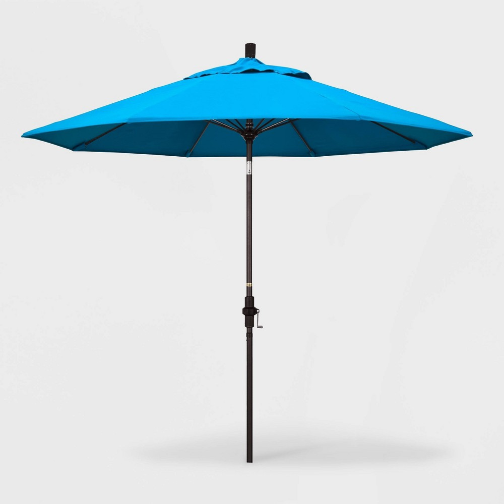 9' Sun Master Patio Umbrella Collar Tilt Crank Lift - Sunbrella Canvas Cyan (Blue) - California Umbrella