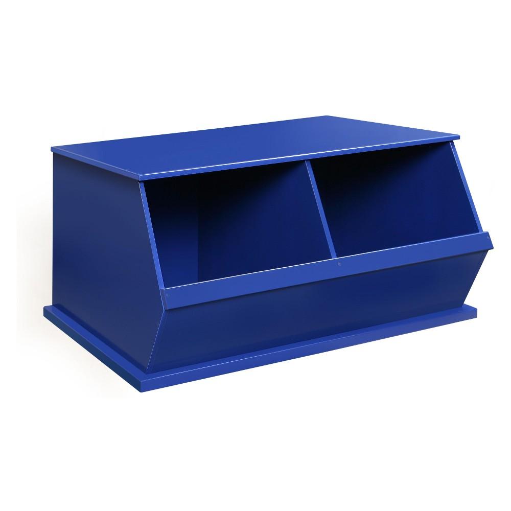 Badger Basket Two Bin Stackable Storage Cubby Blue