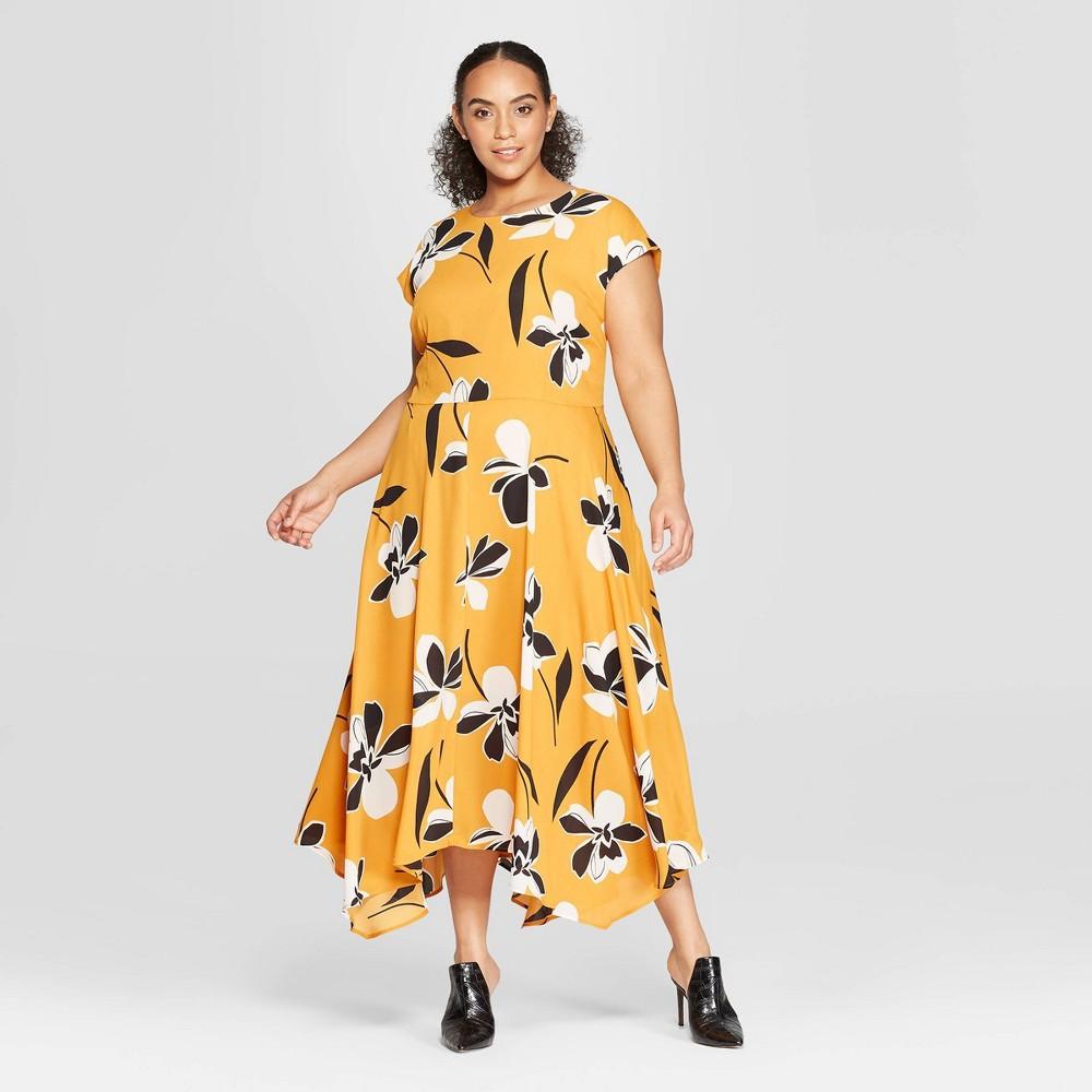 Women's Plus Size Floral Print Cap Sleeve Asymmetric Hem Midi Dress - Who What Wear Yellow 4X