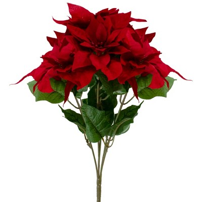 """Northlight 20"""" Red and Green Artificial Poinsettia Christmas Pick"""