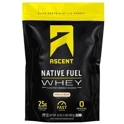 Ascent Native Fuel Whey Protein Powder - Vanilla Bean - 2lbs