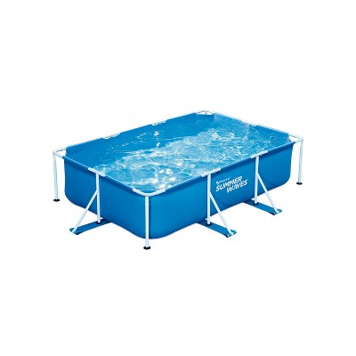 Summer Waves P30710300 9.8 x 6.5 Foot 29.5 Inch Deep Rectangular Small Metal Frame Above Ground Family Backyard Swimming Pool, Blue